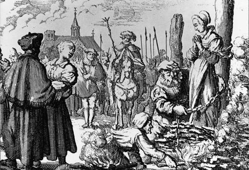 Quema de una bruja septuagenaria en Schoonhoven, Holanda, en 1597