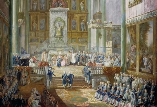 Juramento del futuro Fernando VII como príncipe de Asturias, realizado en la iglesia del Real Monasterio de San Jerónimo