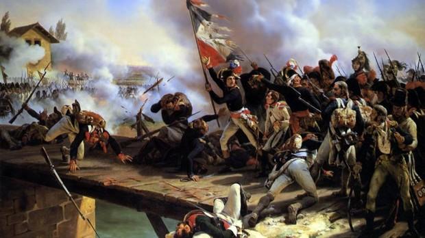 Napoleón Bonaparte liderando la batalla de Arcole