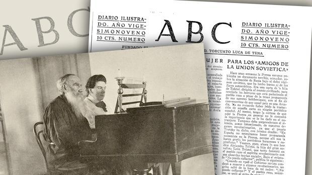 Alexandra Tolstoi, con su padre, y la carta publicada en ABC, en 1933