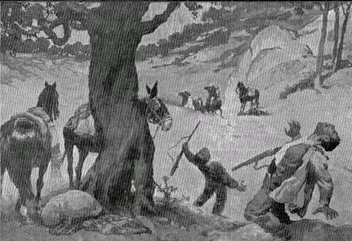 """Grabado de ABC que muestra la muerte de """"el Pernales"""""""