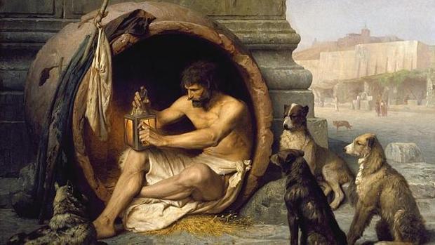 «Diogenes sentado en su tinaja», cuadro de Jean-Léon Gérôme (1860)