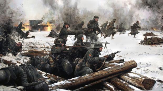 División Azul en el frente del Voljov, 1942, por Augusto Ferrer Dalmau