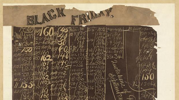 Pizarra en el New York Gold Room, 24 de septiembre de 1869, que muestra el colapso del precio del oro