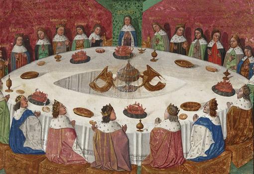 Los caballeros del rey Arturo, reunidos en la Mesa Redonda, tienen una visión del Grial