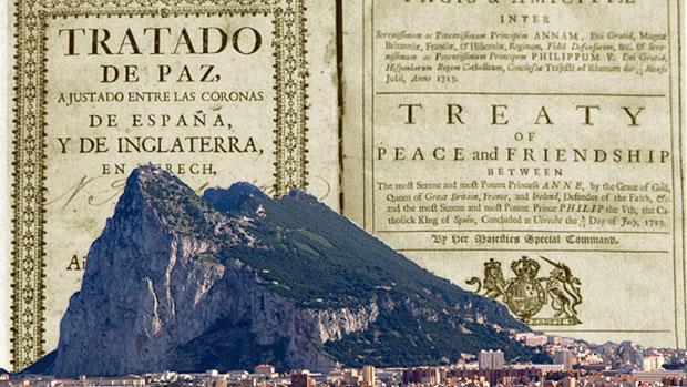 Portada del Tratado de Utrecht, de 1713, junto a una imagen del peñón de Gibraltar