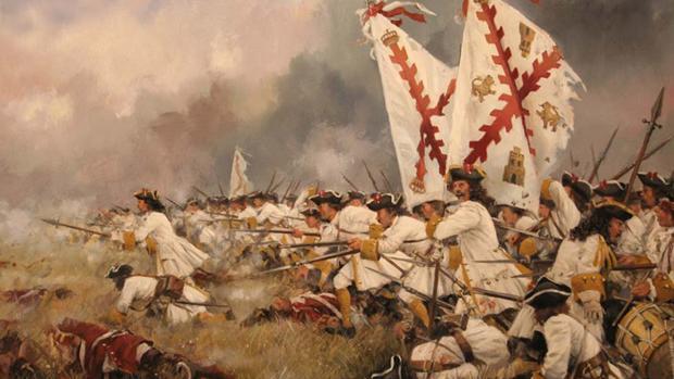 Pintura del Regimiento Asturias durante una carga, por Augusto Ferrer-Dalmau