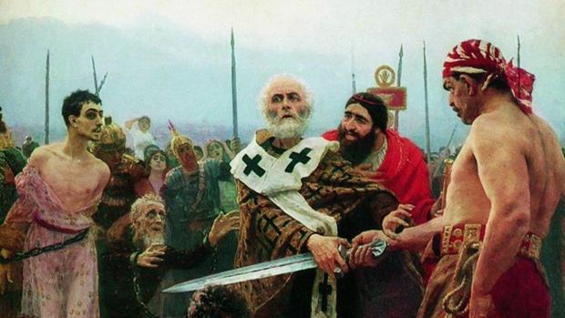 San Nicolás de Bari salva a tres inocentes. Cuadro de Iliá Repin (1889)