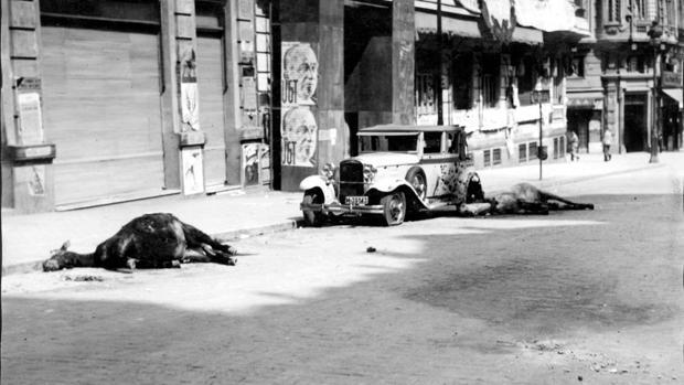 Destrozos y animales muertos, producidos por un obús que cayó sobre la calle Conde de Peñalver, en 1936