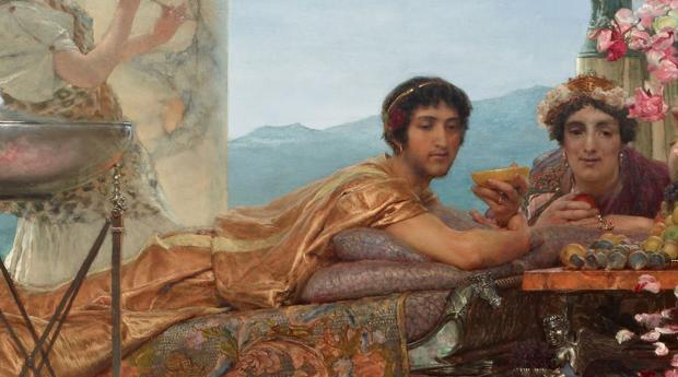 Detalle del cuadro las rosas de Heliogábalo, Sir Lawrence Alma-Tadema, 1888