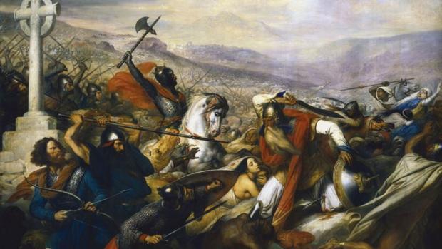 Batalla de Poitiers, en octubre de 732, por Charles de Steuben