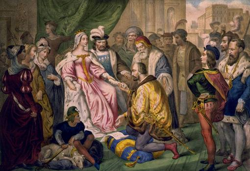 Христофор Колумб перед Католическими Королями в суд Барселоны