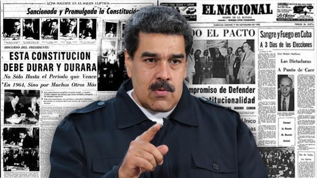Nicolás Maduro, sobre las páginas de los periódicos de 1958 que celebraban la llegada de la democracia y el Pacto de Punto Fijo