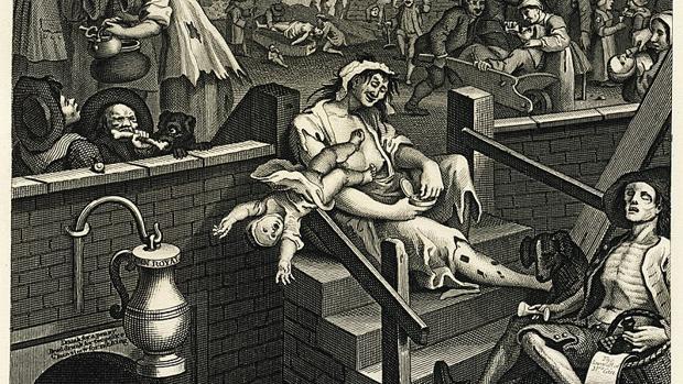 «El callejón de la ginebra» (1751), del pintor y grabador William Hogarth, donde se ilustran los estragos y excesos de la ginebra en la Inglaterra del siglo XVIII