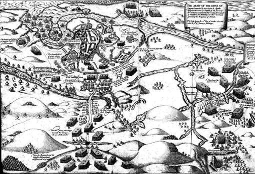 El asedio y batalla de Kinsale, 1601. El campamento de Lord Deputy está en el centro a la izquierda de la imagen