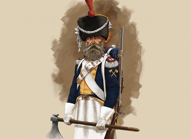Zapador del Regimiento de Fusileros de la Guardia Real. Ilustración de Dionisio Álvarez Cueto