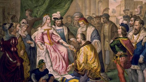 Cristóbal Colón ante los Reyes Católicos en la corte de Barcelona (V. Turgis, siglo xix).