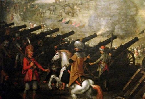 Batería de cañón en el asedio de Esztergom 1543
