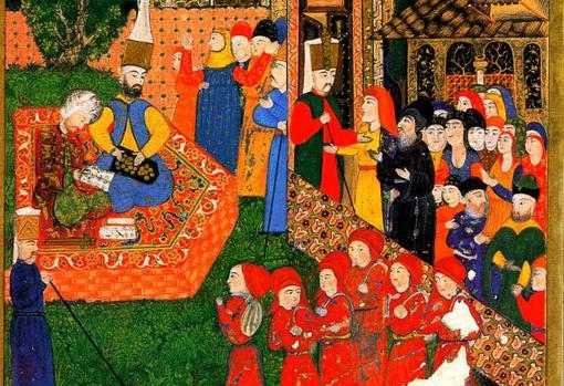 Miniatura otomana del Suleymanname, 1558, con los jóvenes jenízaros vestidos de rojo