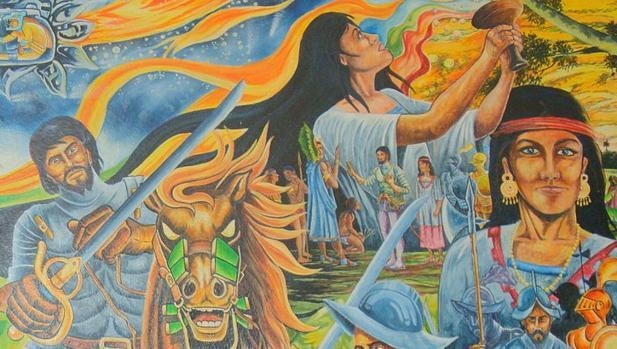 Mural en el Palacio Municipal de Paraíso, Tabasco.