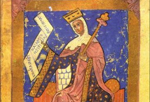 Miniatura medieval que representa a la reina Urraca I de León.