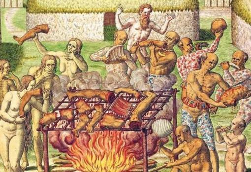 Escena que representa a un grupo de caníbales - Theodore de Bry
