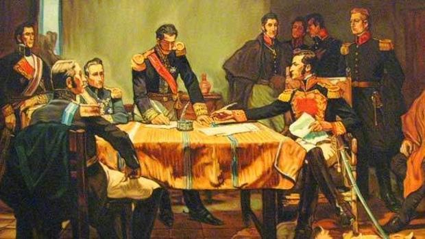 Capitulación de Ayacucho, que certificaron la derrota realista, óleo del pintor peruano Daniel Hernández.
