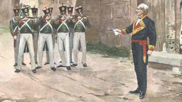Luis Lacy poco antes de ser ejecutado en Bellver