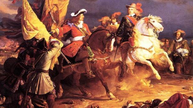 Cuadro de Jean Alaux, representando a Felipe V y el Duque de Vendôme durante la batalla de Villaviciosa