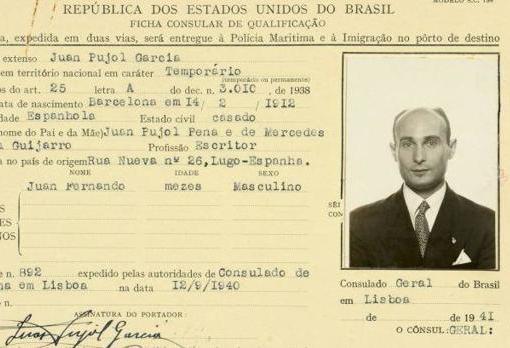 Paraporte de Juan Pujol, el espía español conocido como Garbo