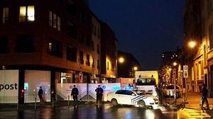 Bloqueo policial en una de las calles de Bruselas