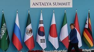 La canciller alemana Angela Merkel, ayer en la cumbre del G20 en Antalya