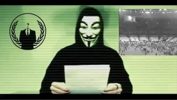 Captura de pantalla del comunicado de Anonymous