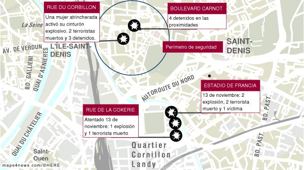 Redada en París el 18 de noviembre y atentados del 13 de noviembre