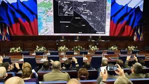 Momento de la rueda de prensa que han dado altos cargos del Ministerio de Defensa ruso