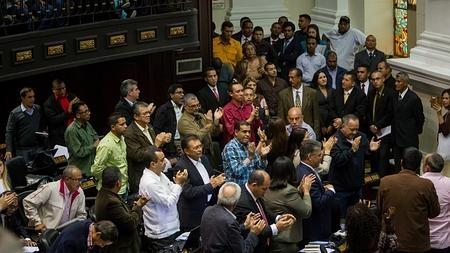 Diputados del Partido Socialista Unido de Venezuela (PSUV) participan en la sesión de la Asamblea Nacional (AN)