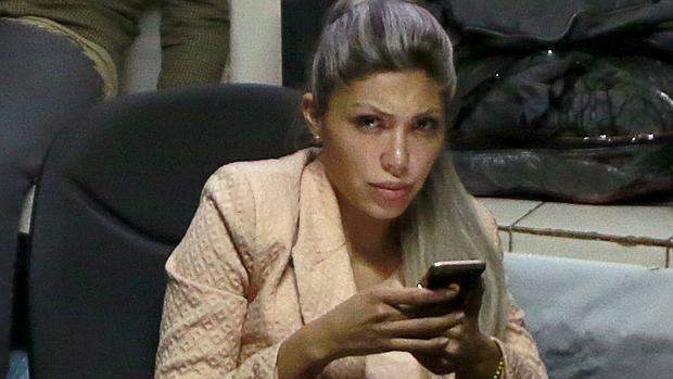 Gabriela Zapata, este viernes en una comisaría de la Policía en La Paz