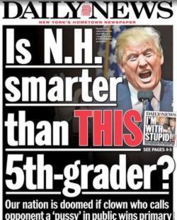 Portada del «New York Daily News», del 9 de febrero