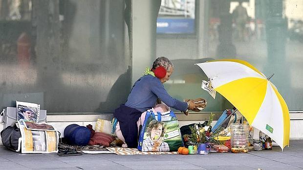 Una indigente en Sevilla