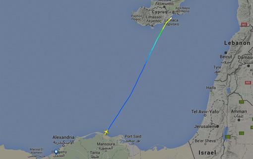 Ruta del vuelo desviado a Chipre desde Alejandría