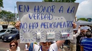 Protesta de este miércoles frente a un hospital venezolano