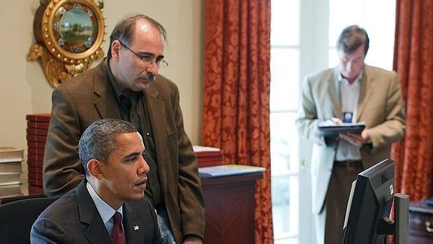 Barack Obama, con su asesor David Axelrod