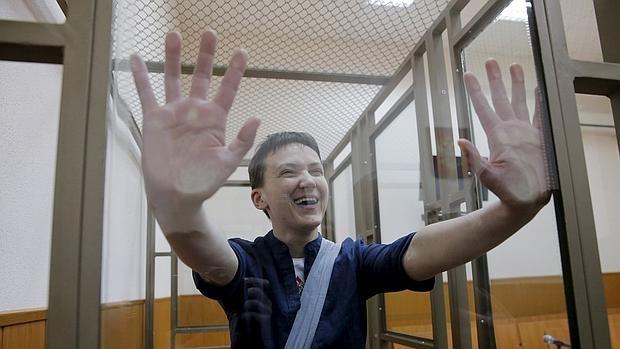 La piloto ucraniana, durante su juicio en Rusia