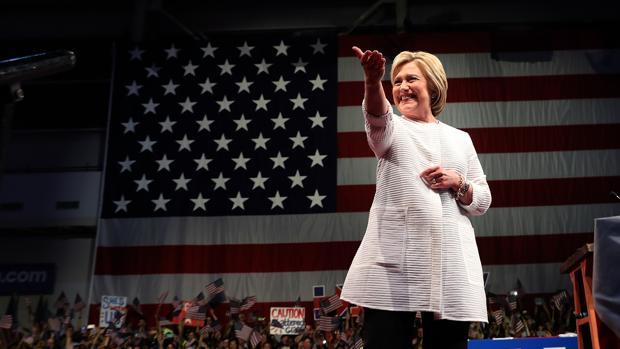Hillary Clinton , durante su última intervención en Brooklyn, Nueva York