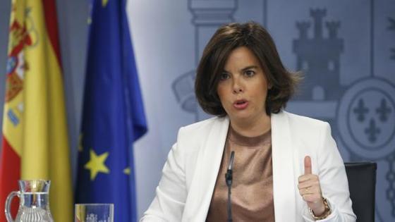 La vicepresidenta en funciones, Soraya Sáenz de Santamaría, en La Moncloa