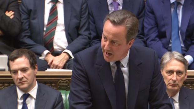 El primer ministro británica, David Cameron, este lunes en el Parlamento ingés