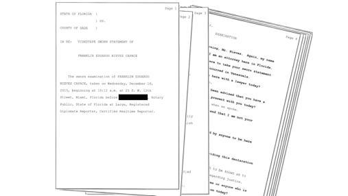 Declaración jurada del fiscal Franklin Nieves en Miami