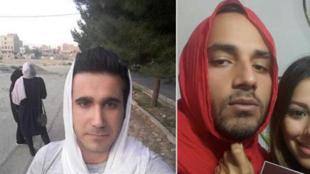 Hombres iraníes protestan contra el uso obligatorio del velo para las mujeres  posando con la cabeza cubierta ceb3d8f1977f