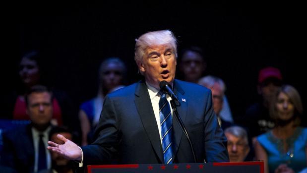 Donald Trump durante su discurso en el Auditorio Merrill