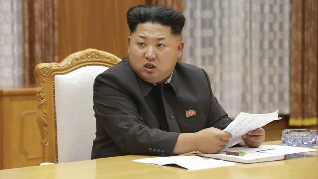 El dictador Kim Jong-un durante un discurso a los militantes del partido único nacional